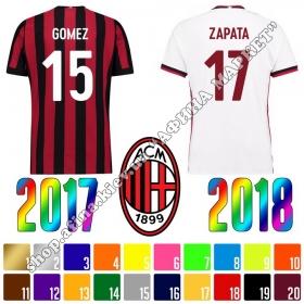 Нанесение имени, фамилии, номера, шрифт Милан 2017-2018