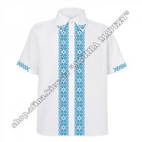 Рубашка белая с голубым орнаментом