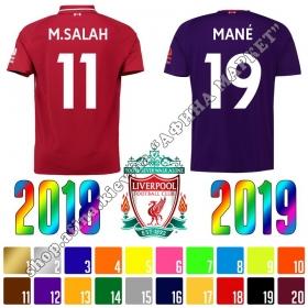 Нанесение имени, фамилии, номера, шрифт Ливерпуль 2018-2019