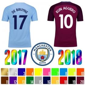 Нанесение имени, фамилии, номера, шрифт Манчестер Сити 2017-2018 (5040)