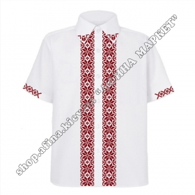 Рубашка белая с бардовым орнаментом
