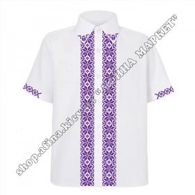 Рубашка белая с фиолетовым орнаментом