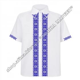 Рубашка белая с синим орнаментом
