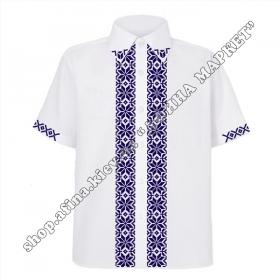 Рубашка белая с темно-синим орнаментом