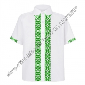 Рубашка белая с зеленым орнаментом