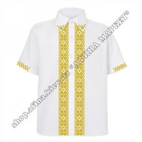 Рубашка белая с золотым орнаментом