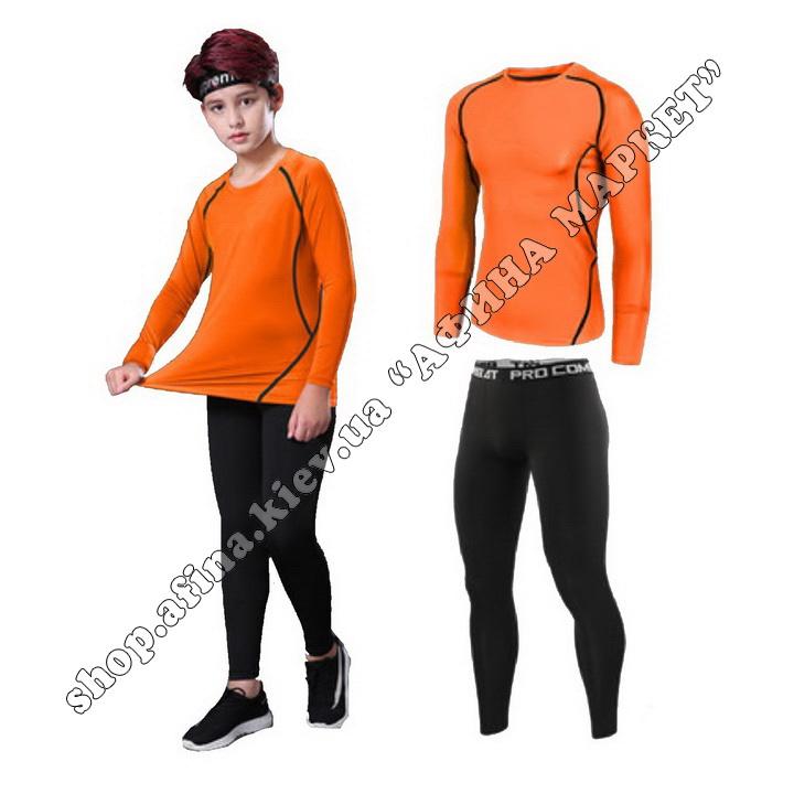 Термобілизна дитяча для футболу SENJI комплект Orange/Black