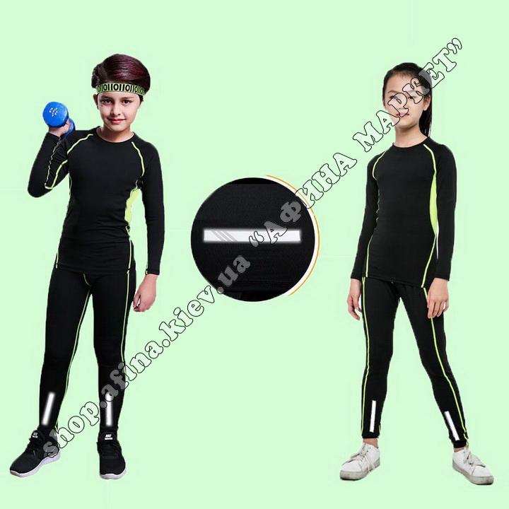 Термобілизна дитяча для футболу JIABIBANG комплект Black/Green 107460