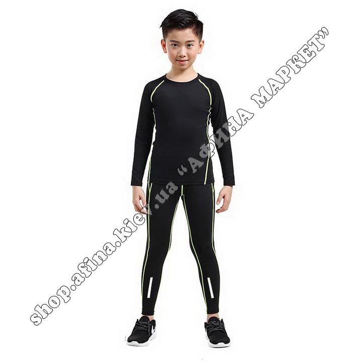 Термобілизна дитяча для футболу JIABIBANG комплект Black/Green 107457