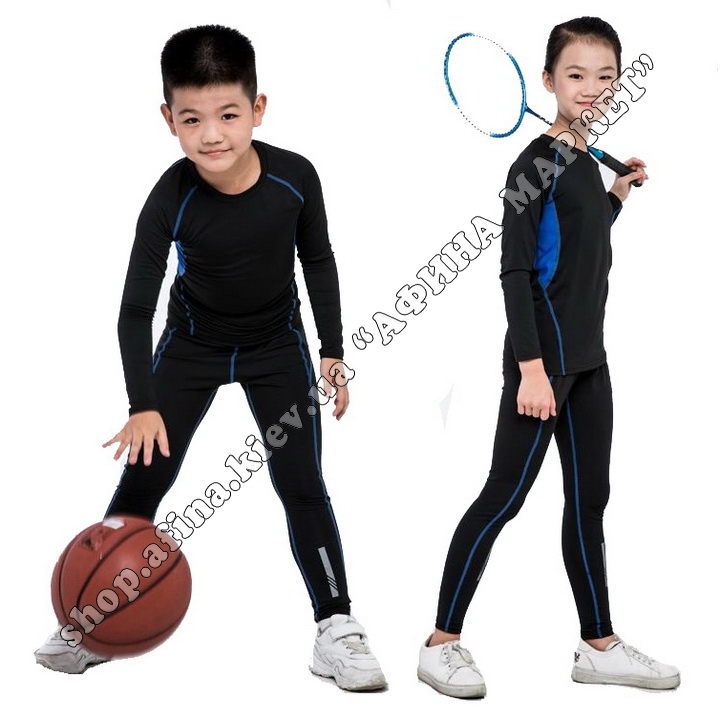 Термобілизна дитяча для футболу зі світловідбиваючими елементами Black/Blue 107588