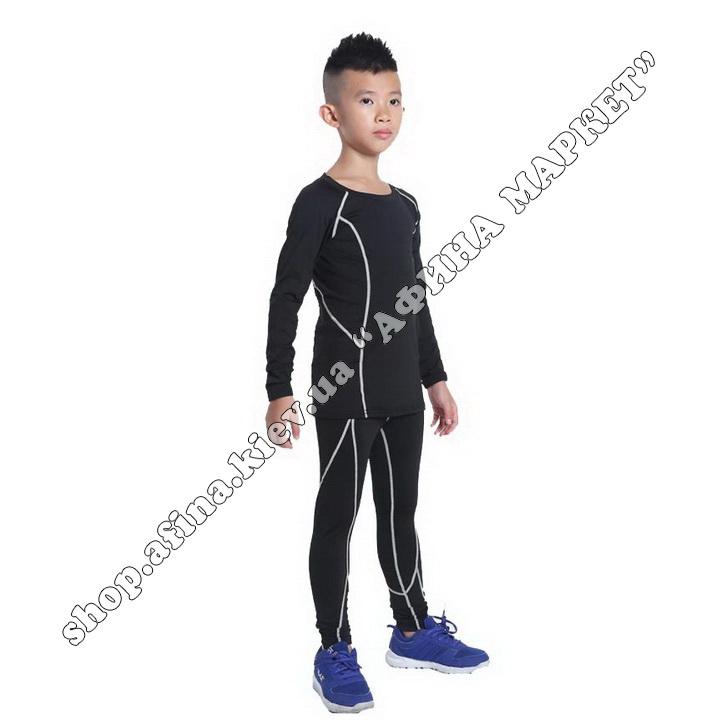 Термобілизна дитяча для футболу SPORT комплект Black/Gray 107544