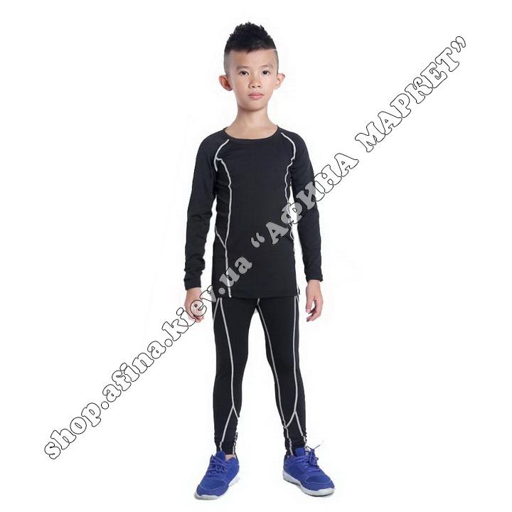 Термобілизна дитяча для футболу SPORT комплект Black/Gray 107546