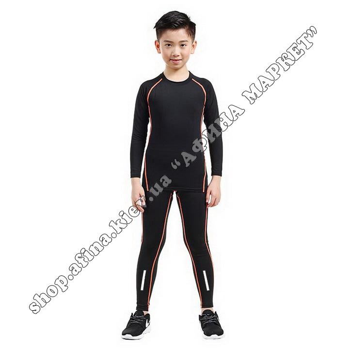 Термобілизна дитяча для футболу зі світловідбиваючими елементами Black/Orange  107499