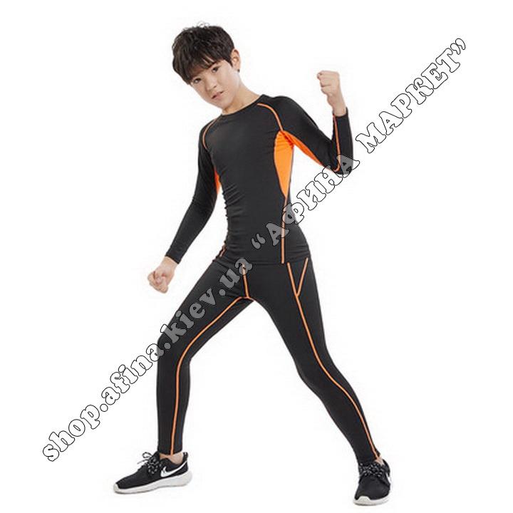 Термобілизна дитяча для футболу зі світловідбиваючими елементами Black/Orange  107509