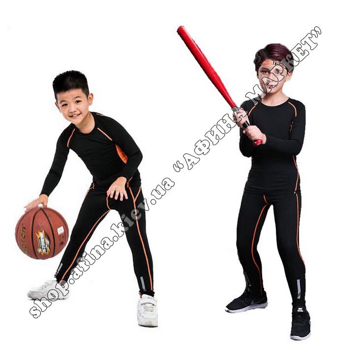 Термобілизна дитяча для футболу зі світловідбиваючими елементами Black/Orange  107502