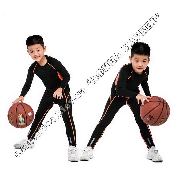 Термобілизна дитяча для футболу зі світловідбиваючими елементами Black/Orange  107503