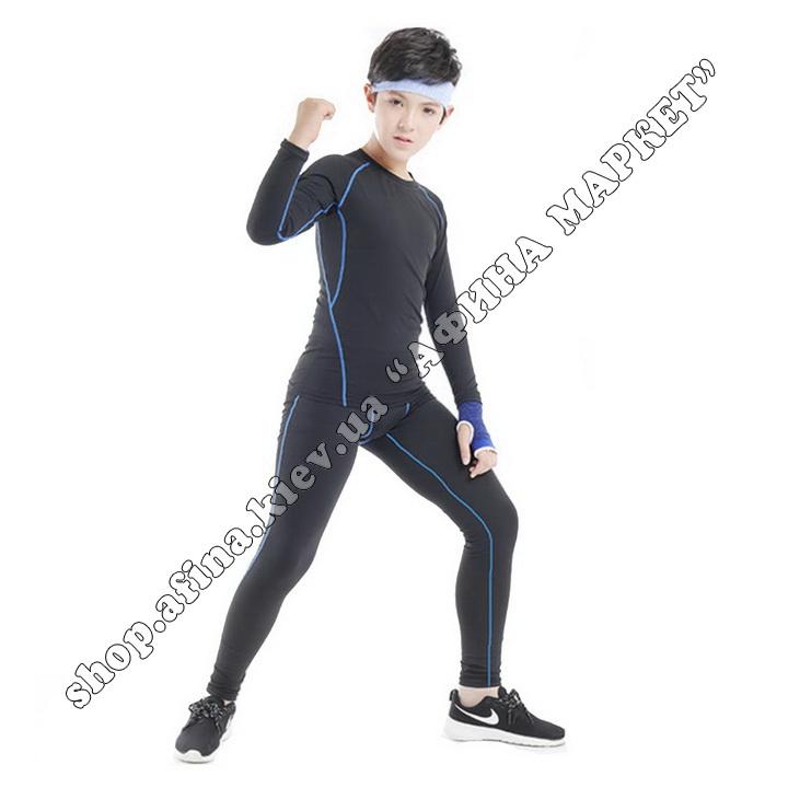 Термобілизна дитяча для футболу FENTA комплект Black/Blue 107575