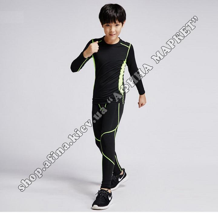 Thermal Underwear CD Black/Green Reflective Kids 109426