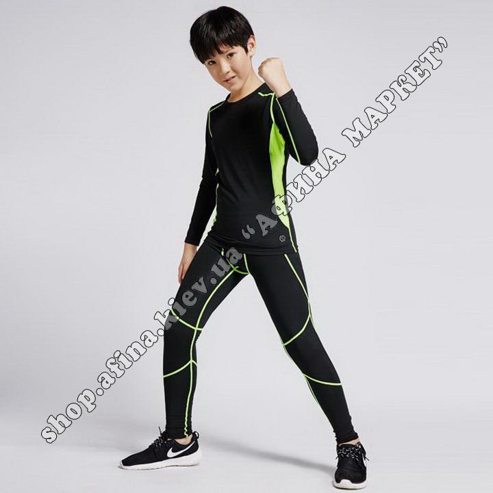 Thermal Underwear CD Black/Green Reflective Kids 109427