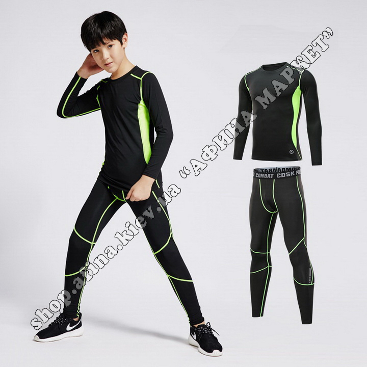 Thermal Underwear CD Black/Green Reflective Kids 109428