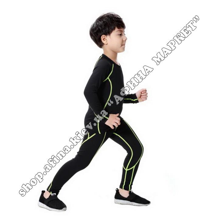 Гірськолижна термобілизна дитяча SPORT Black/Green 107729