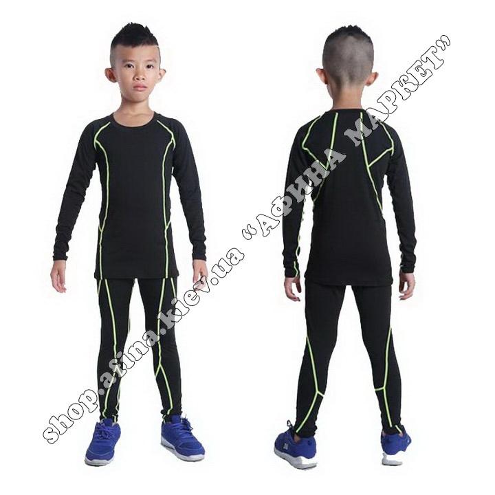 Гірськолижна термобілизна дитяча SPORT Black/Green 107715