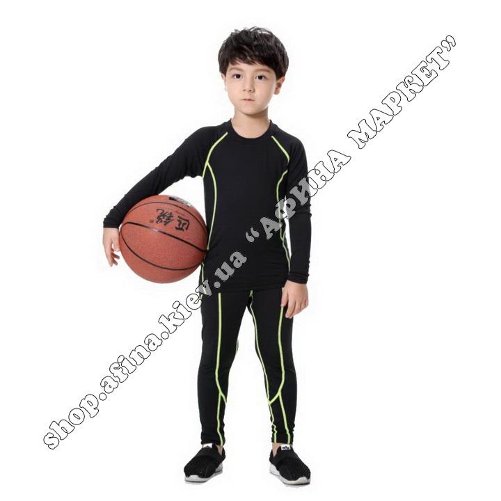 Гірськолижна термобілизна дитяча SPORT Black/Green 107716